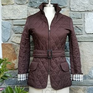Burberry diamond quilted jacket with nova check tr